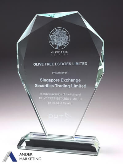 Glass Trophy Award - GG-04 Ander Marketing Singapore