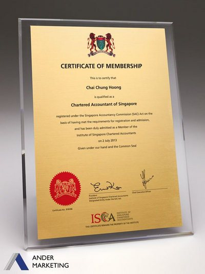 Acrylic Plaques - PA-CERT Ander Marketing Singapore